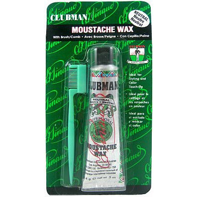 Clubman Pinaud MOUSTACHE WAX with Brush Comb - 0.5oz