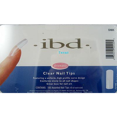 IBD Nail Tips / CLEAR Nail Tips - 100ct assorted size