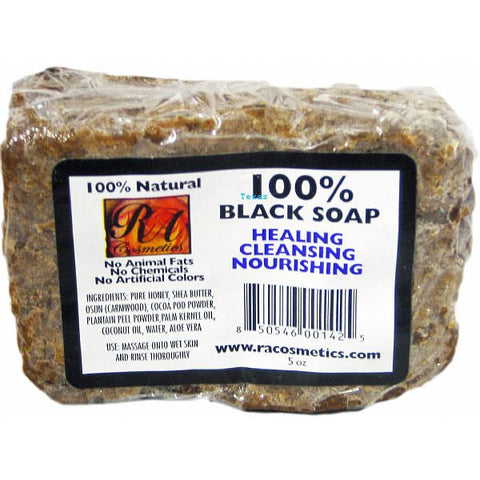 RA Cosmetics 100% Black Soap Healing Cleansing Nourishing - 5oz bar