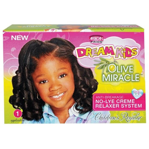African Pride DREAM KIDS Extra Virgin Olive Oil No-Lye Creme Relaxer System Kit (NO CA)
