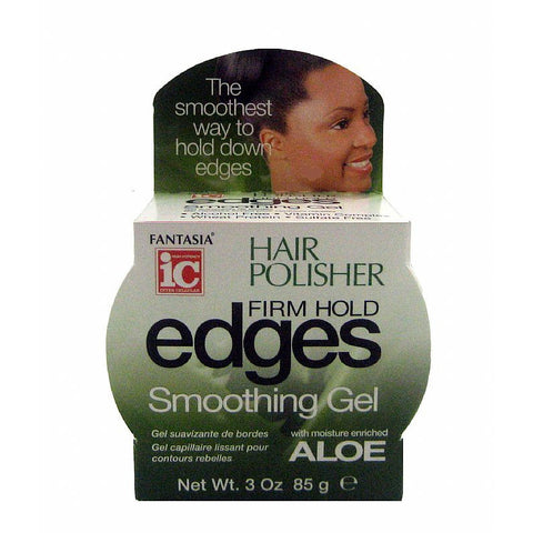 Fantasia IC Hair Polisher Firm Hold Edges Smoothing Gel with Aloe - 3oz jar