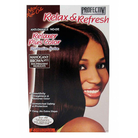 Profectiv Relaxer & Refresh - NoLye Relaxer Plus Color Kit - Mahogany Brown #11