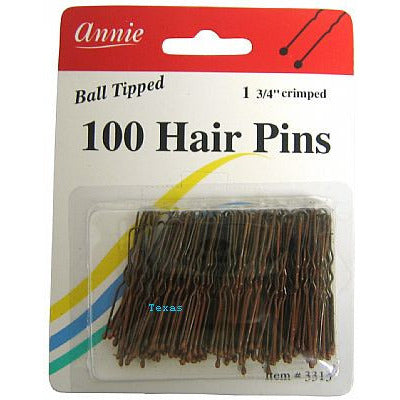 Annie Hair Pins - BRONZE 1 3/4inch crimped - ball tipped hair pins - 100count - #3313