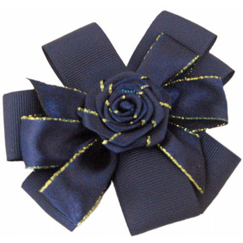 Hair Bow - cloth flower hairbow with gold edge ribbon # EL1243B