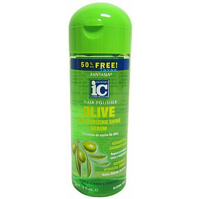 Fantasia IC Hair Polisher OLIVE Moisturizing Shine Serum - 6oz green bottle