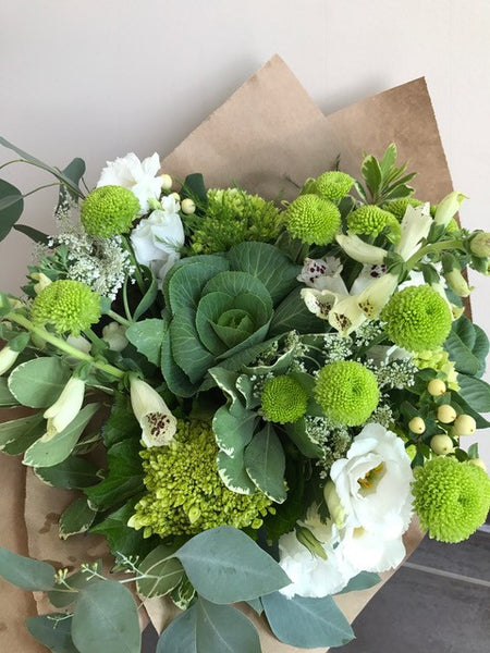 Hand-tied Bouquet Neutrals- White/Green