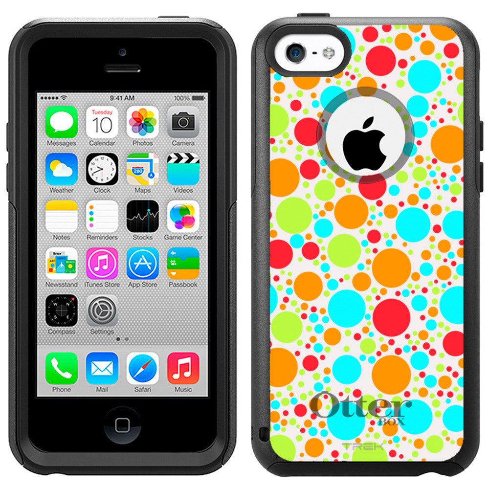 Apple iPhone 5C Multi Color Dots on White Otterbox Commuter Case