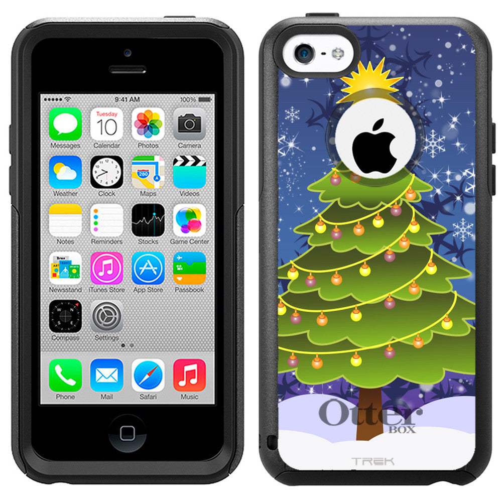 Apple iPhone 5C Christmas-1 Tree on Blue Otterbox Commuter Case