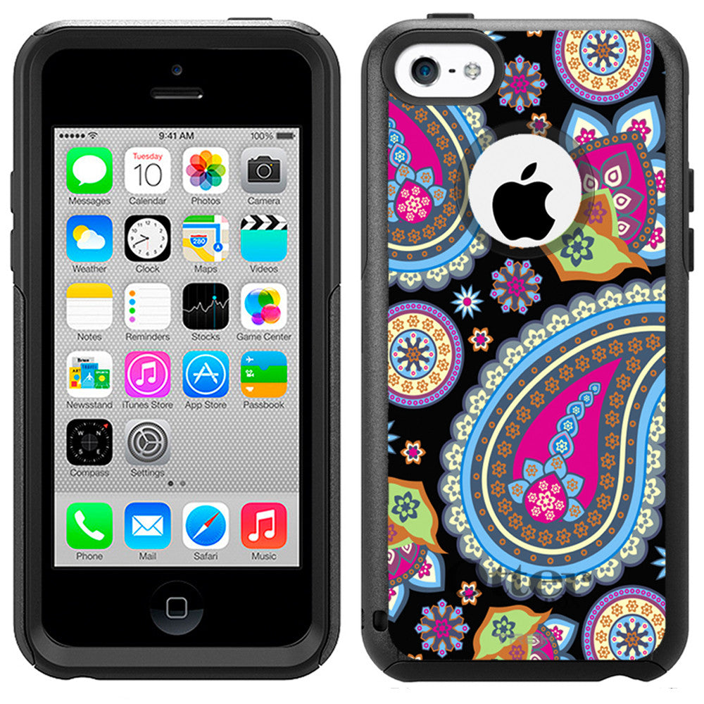 Apple iPhone 5C Fun Paisleys on Black Otterbox Commuter Case