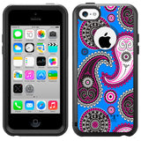 Apple iPhone 5C Paisley Pink Black on Blue Otterbox Commuter Case