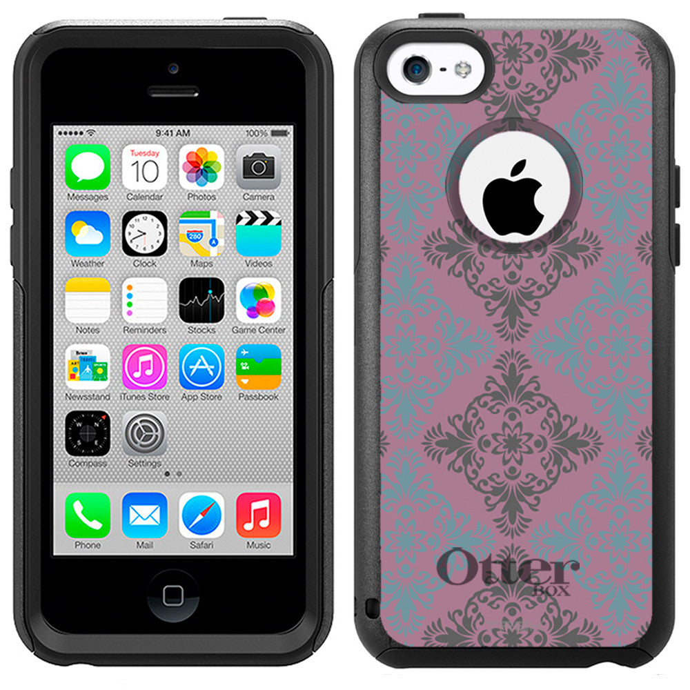 Apple iPhone 5C Victorian Vintage Blue and Grey on Lavander Otterbox Commuter Case