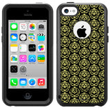 Apple iPhone 5C Victorian Drawn Lime Green on Black Otterbox Commuter Case