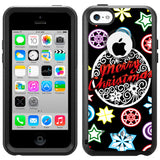 Apple iPhone 5C Christmas on Black Otterbox Commuter Case