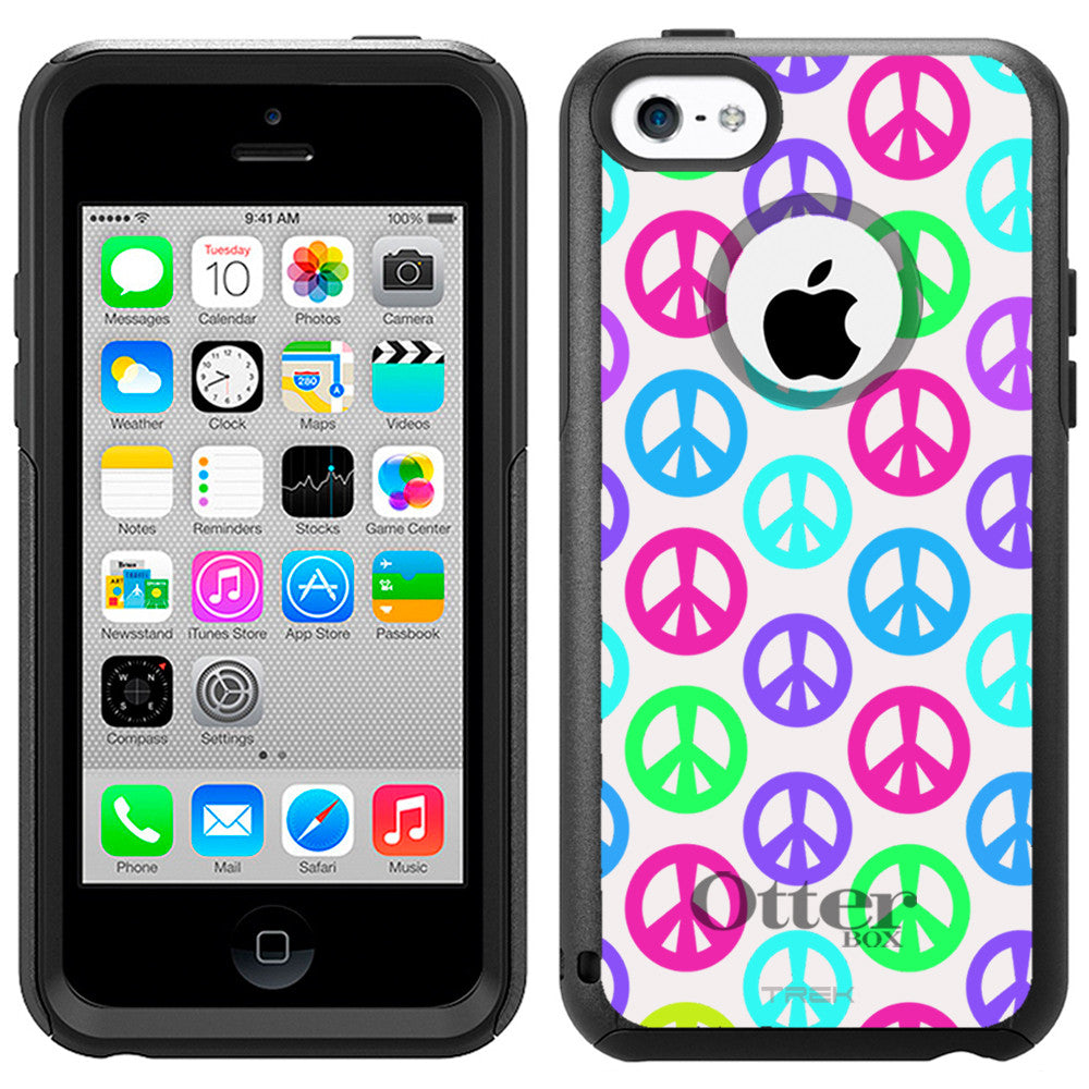 Apple iPhone 5C Multi Color Peace Sign on White Otterbox Commuter Case