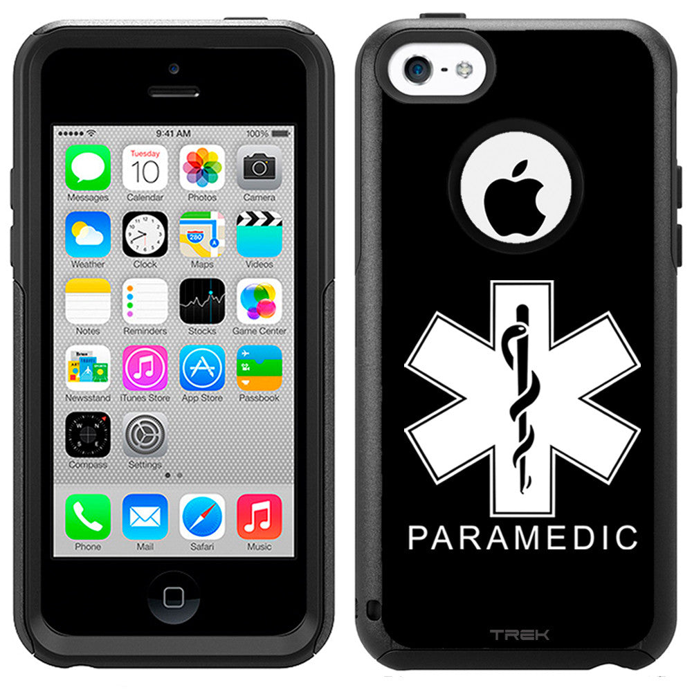 Apple iPhone 5C Silhouette Paramedic on Black Otterbox Commuter Case