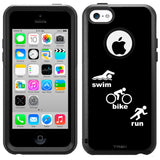 Apple iPhone 5C Silhouette Swim-Bike-Run Triathlon on Black Otterbox Commuter Case