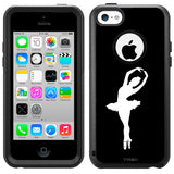 Apple iPhone 5C Silhouette Ballerina Ballet Dancer on Black Otterbox Commuter Case