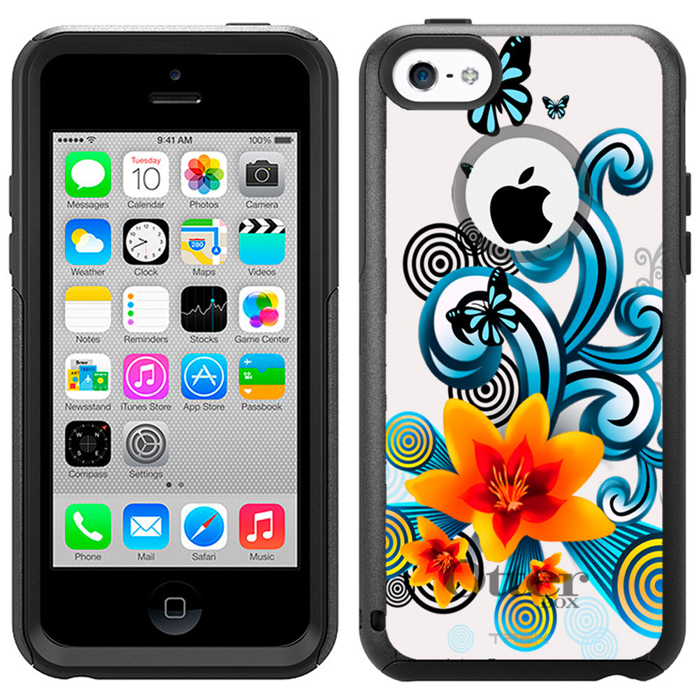Apple iPhone 5C Yellow Flower Lily with Butterflies on White Otterbox Commuter Case