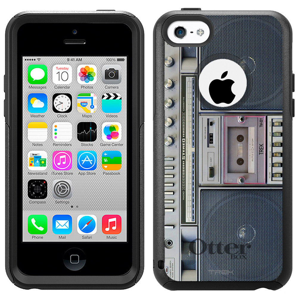 Apple iPhone 5C Retro Cassette Tape Boombox Otterbox Commuter Case