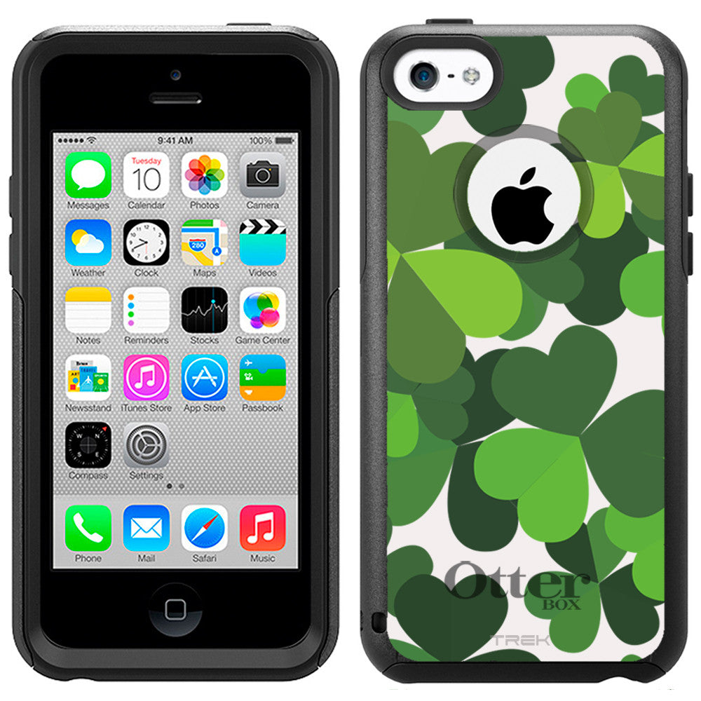 Apple iPhone 5C Saint Patrick Day Black Green Three Leaf on White Otterbox Commuter Case