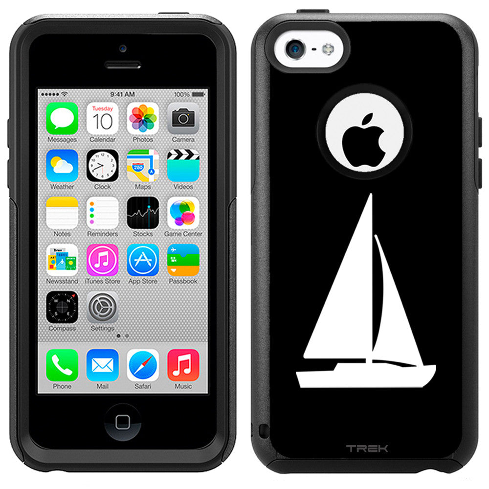 Apple iPhone 5C Silhouette Sailboat on Black Otterbox Commuter Case