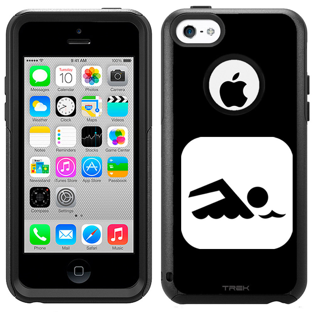 Apple iPhone 5C Silhouette Swim Swimmer on Black Otterbox Commuter Case