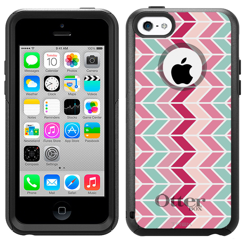 Apple iPhone 5C Chevron Vertical Mauve Teal Pink Otterbox Commuter Case