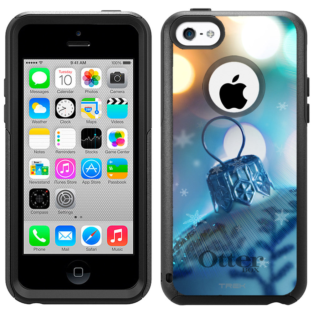 Apple iPhone 5C Christmas Blue Ornament with Lights Otterbox Commuter Case