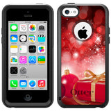 Apple iPhone 5C Christmas Red Ornaments with Present Otterbox Commuter Case