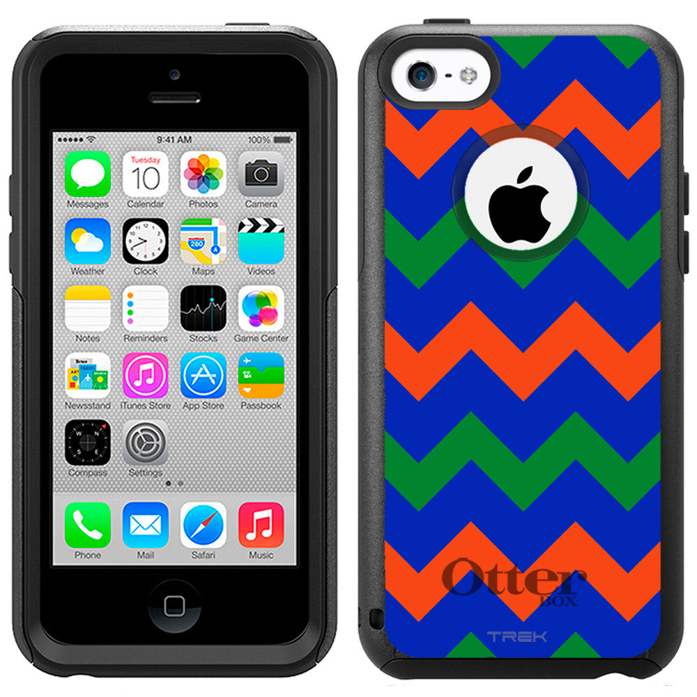 Apple iPhone 5C Chevron Green Orange Blue Otterbox Commuter Case