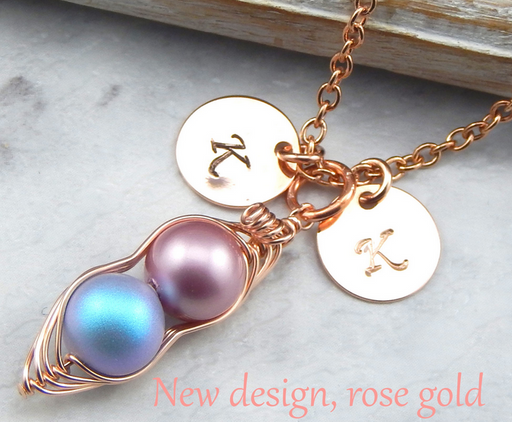 Rose Gold Two Peas in a Pod Necklace