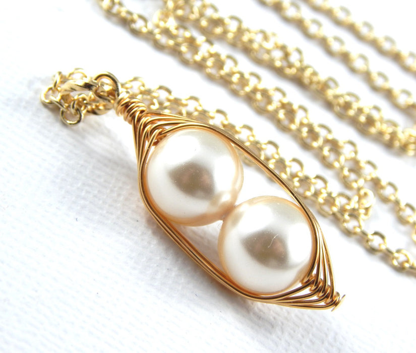 Peas in a Pod Gold Necklace