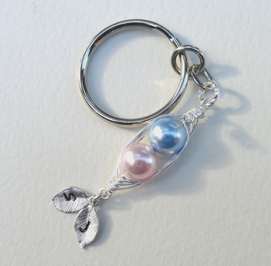 Peas in a Pod personalised key ring with Swarovski Pearls