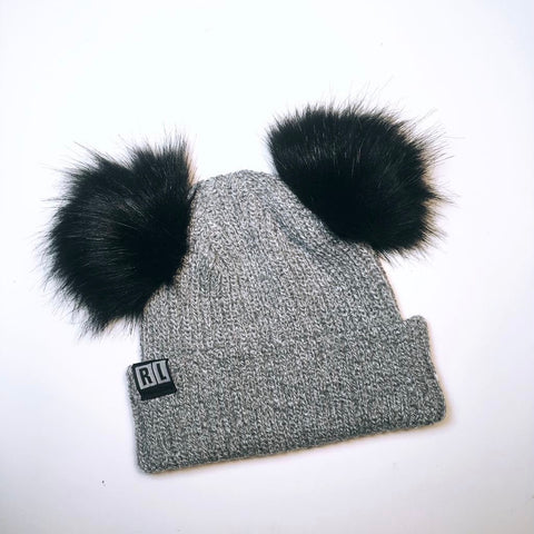 Silver grey X  black Knitted Bear Beanie