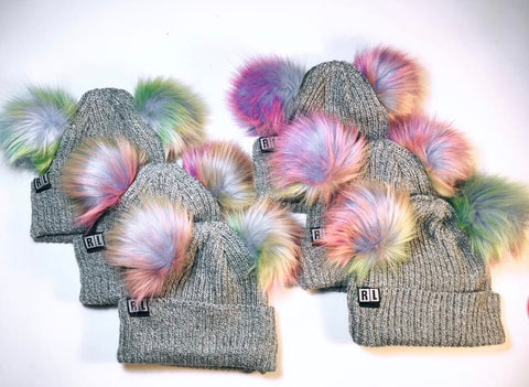 Unicorn Silver Knitted Bear Beanies