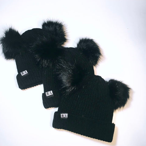 Black X Black Knitted Bear Beanie