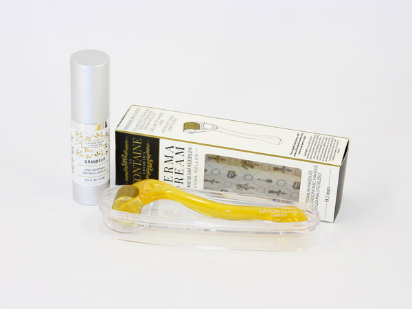 Grandeur Age Defense Retinol Serum - 0.5 fl. oz bottle + 0.5 mm DermaDream Microneedle Roller - La Fontaine Cosmetics  - 1