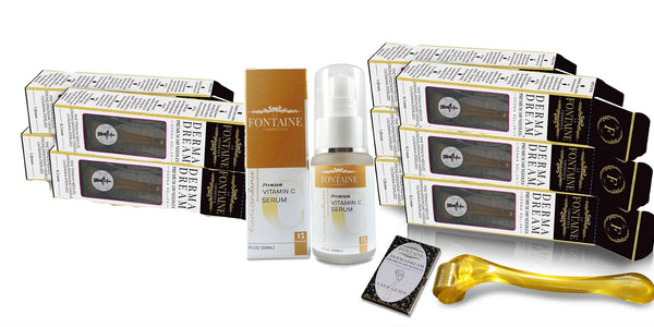 Cyber Week Special 1 - DermaDream DermaRoller Perfect Bundle - 5 0.5 mm, 5 1.0 mm + Transcendence Vitamin C Serum - La Fontaine Cosmetics  - 1