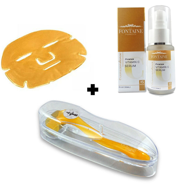 DermaDream DermaRoller + One Love MegaBundle - Includes Microneedle Rollers, Transcendence Vitamin C Serum & Gold Collagen Mask - La Fontaine Cosmetics  - 1