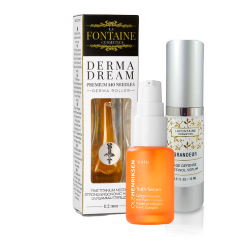 Black Friday 2020 - Grandeur Age Defense Retinol Serum + Ole Henriksen Truth Serum +0.2 +0.5 mm DermaDream Microneedle Roller