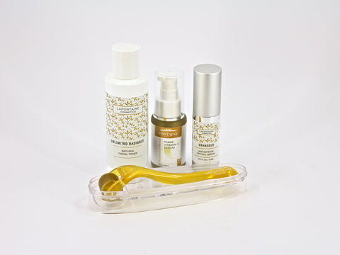 Ultimate Natural 4 Step Antiaging Plan - DermaDream 0.5 Microneedle Roller, Transcendence Vitamin C Serum, Unlimited Radiance Natural Toner + Grandeur Age Defense Retinol Serum - La Fontaine Cosmetics  - 1