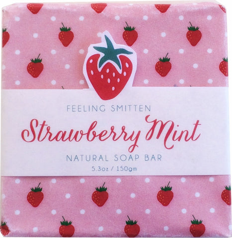Feeling Smitten Strawberry Mint Soap 5.3 oz Bar - La Fontaine Cosmetics