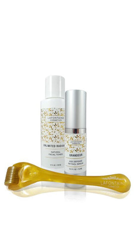 Grandeur Mini Bundle - Age Defense Retinol Serum, Unlimited Radiance Toner + Bonus 0.2 mm DermaDream Microneedle Roller - La Fontaine Cosmetics  - 1
