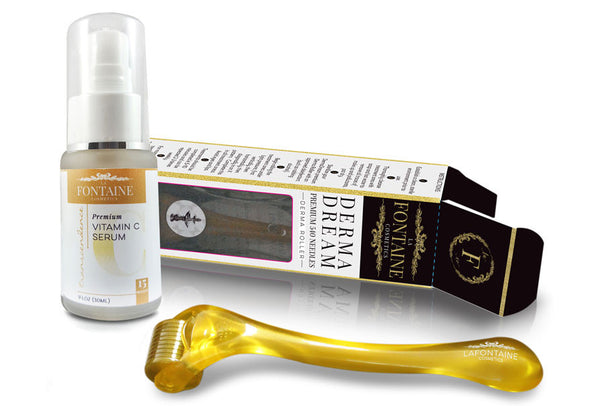 Transcendence Vitamin C Serum & DermaDream 1.0 mm Roller Bundle - La Fontaine Cosmetics  - 1