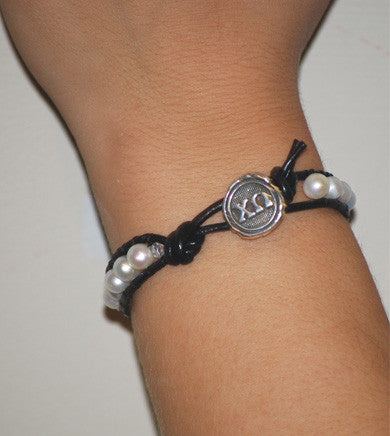 ΧΩ Leather And Pearl Bracelet