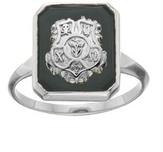 Square Black Onyx Crest Ring