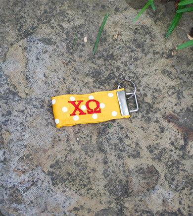 Yellow with White Dot Ribbon Key Ring