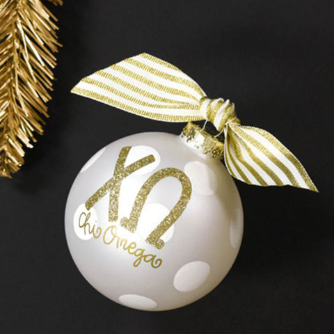 Chi Omega Gold Glitter Ornament