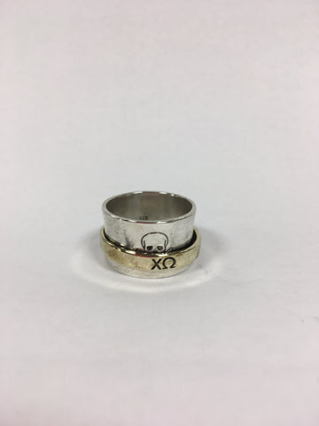 Skull and Crossbones with Greek Letters Spinner Ring