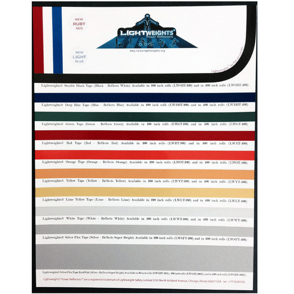 Lightweights Presenter Card Colored and Silver Flex Tapes